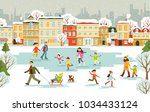 ice rink with different people... | Shutterstock .eps vector #1034433124