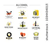 collection of flat alcohol...   Shutterstock . vector #1034434015