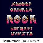 alphabet 80's retro font. fire...   Shutterstock .eps vector #1034434975