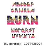 alphabet 80's retro font.vector ...   Shutterstock .eps vector #1034435029