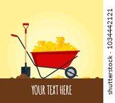 red wheelbarrow full of golden... | Shutterstock .eps vector #1034442121