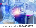 distillation set with dropping... | Shutterstock . vector #1034453977