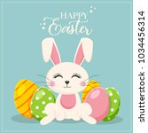 happy easter  funny bunny  | Shutterstock .eps vector #1034456314