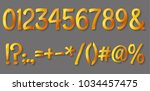 set of golden luxury 3d numbers ... | Shutterstock .eps vector #1034457475