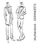 sketch. handsome stylish man... | Shutterstock .eps vector #1034463571
