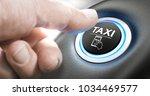 man pushing a taxi service... | Shutterstock . vector #1034469577