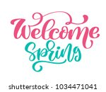 welcome spring hand drawn quote ...   Shutterstock .eps vector #1034471041