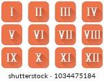 roman numerals. orange square... | Shutterstock .eps vector #1034475184