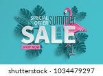 summer sale banner with paper... | Shutterstock .eps vector #1034479297