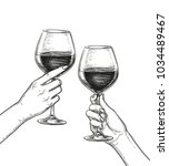 two hands clinking glasses of... | Shutterstock .eps vector #1034489467