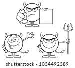 black and white devil cartoon... | Shutterstock .eps vector #1034492389