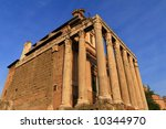 Rome. Temple of Antoninus and Faustina at Rome - stock photo