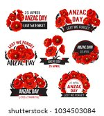 anzac day icons of red poppy... | Shutterstock .eps vector #1034503084