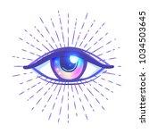 blackwork tattoo flash. eye of... | Shutterstock .eps vector #1034503645