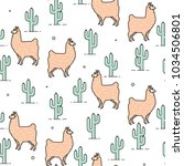 cute llama and cactus seamless...   Shutterstock .eps vector #1034506801
