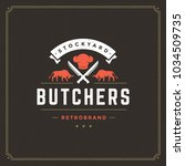 butcher shop logo vector... | Shutterstock .eps vector #1034509735