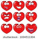red heart cartoon emoji face... | Shutterstock .eps vector #1034511304