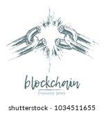 business concept  broken chain  ... | Shutterstock .eps vector #1034511655