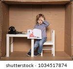 small businessman shows... | Shutterstock . vector #1034517874