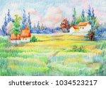 watercolor summer rural...   Shutterstock . vector #1034523217
