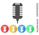set of microphone flat vector... | Shutterstock .eps vector #1034530201