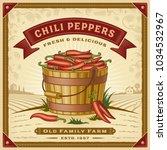 retro chili pepper harvest... | Shutterstock . vector #1034532967
