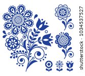 floral vector design  folk art... | Shutterstock .eps vector #1034537527