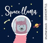 cute llama in space. cartoon... | Shutterstock .eps vector #1034539711