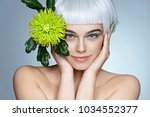 charming fashion model with... | Shutterstock . vector #1034552377