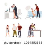 set of sexual harassment ... | Shutterstock .eps vector #1034553595