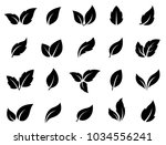 set of black leaves icons on... | Shutterstock . vector #1034556241