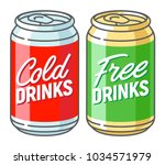 two aluminum cans with the... | Shutterstock .eps vector #1034571979