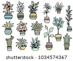 set of different hand drawn... | Shutterstock .eps vector #1034574367