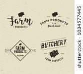set of retro styled butchery... | Shutterstock . vector #1034577445
