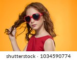 beautiful girl in glasses on a ... | Shutterstock . vector #1034590774