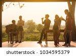 six young entrepreneur... | Shutterstock . vector #1034595379