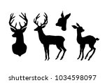 deer and fawn. black cut... | Shutterstock .eps vector #1034598097
