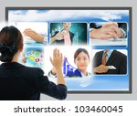 Business people touch the business button - stock photo