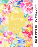 painted watercolour flower... | Shutterstock . vector #1034610799