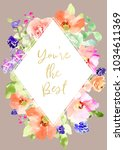 printable mothers day card with ... | Shutterstock . vector #1034611369