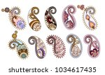 set with ten ornate paisley ... | Shutterstock .eps vector #1034617435