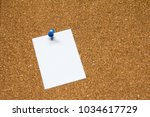 blank white paper pin on cork... | Shutterstock . vector #1034617729