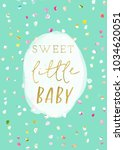 sweet little baby shower card... | Shutterstock . vector #1034620051