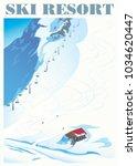winter landscape of a ski... | Shutterstock .eps vector #1034620447