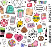 cute fun doodles seamless... | Shutterstock .eps vector #1034621197