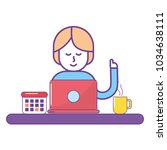 woman and laptop design | Shutterstock .eps vector #1034638111