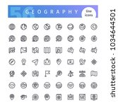 set of 56 geography line icons... | Shutterstock .eps vector #1034644501