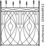 wrought iron gate  ornamental... | Shutterstock .eps vector #1034648911