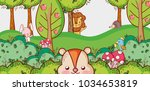 cute animals in the jungle | Shutterstock .eps vector #1034653819