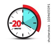 twenty minutes clock face icon. ... | Shutterstock .eps vector #1034655391